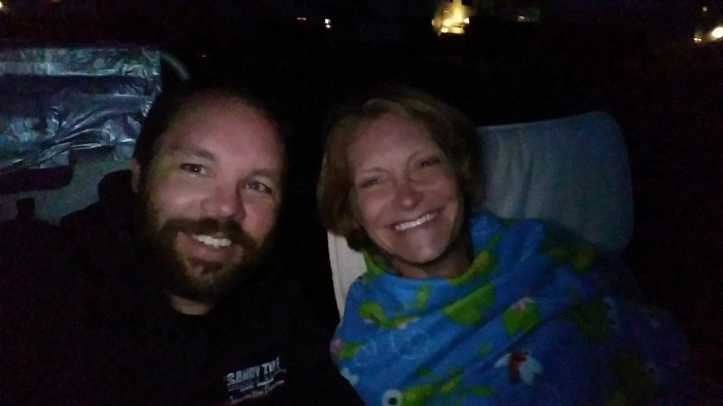"Watching ""Goonies"" at the drive-in"