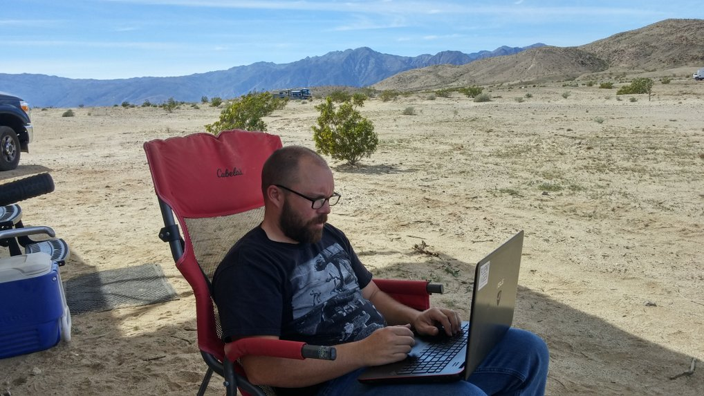 Working on tax return in the desert