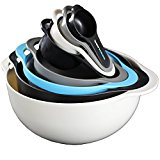 Nesting Bowls by Vesper's Kitchen Cooking Set Best Space Saving RV Camping Accessories and Supplies with Mixing Bowl, Measuring Bowl and Cups, Colander and Sifter, Compact Stackable Storage Solution
